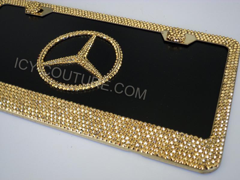 3d Mercedes License Plate Amp Frame 24k Gold Or Rose Gold