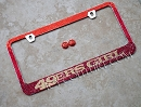 49ERS GIRL on Red Ombre Fade Swarovski Crystals License Plate Frame
