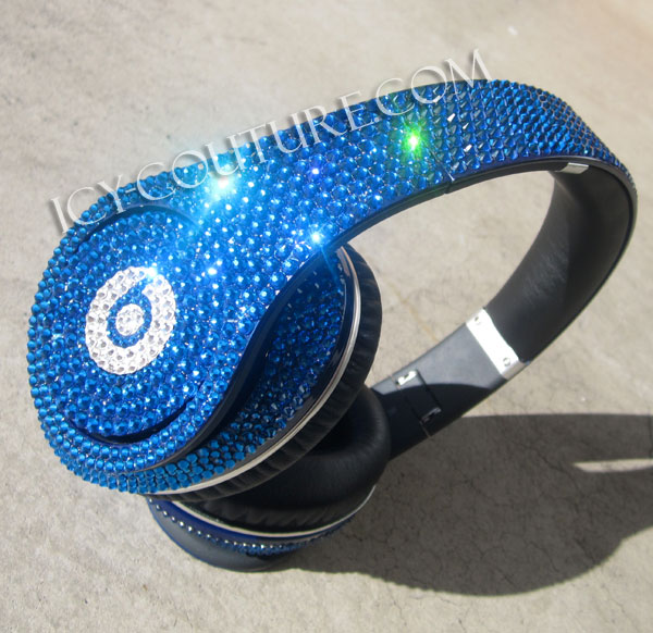 Capri Blue Bling Beats By Dre Bedazzled Headphones Whats