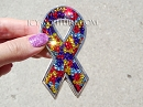 Autism Bling Ribbon Crystal Car Emblem.