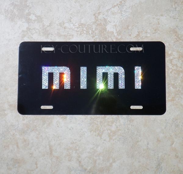 CUSTOM NAME License Plate with Swarovski Crystals Black
