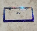 BLUE OPMBRE ICY License Plate Frame with Swarovski Crystals