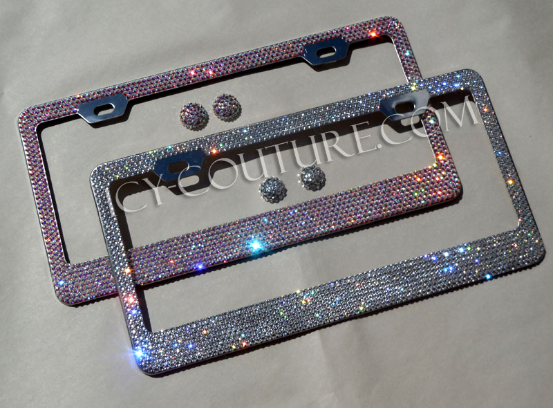 crystal clear or crystal ab license plate frame with swarovski crystals