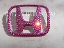 Swarovski Crystal Honda H Emblem! Black, Pink, Gold, any color!