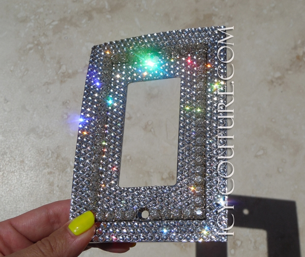 Single Rocker Style Bling Light Switch Plate Cover With Crystal Chain Whats Your Color