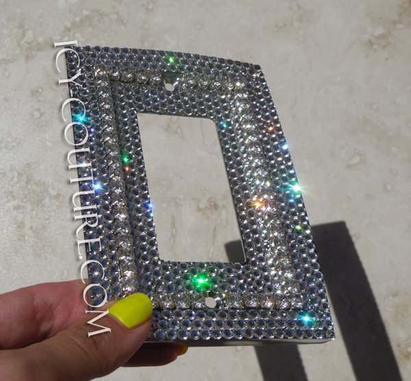 Single Rocker Style Bling Light Switch Plate Cover With 3d