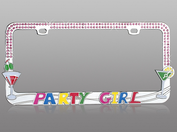 Party Girl Crystal Bling License Plate Frame With Rhinestones