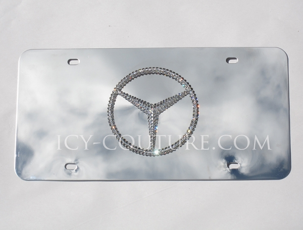 Crystal mercedes 3d logo license plate for Mercedes benz license plate logo