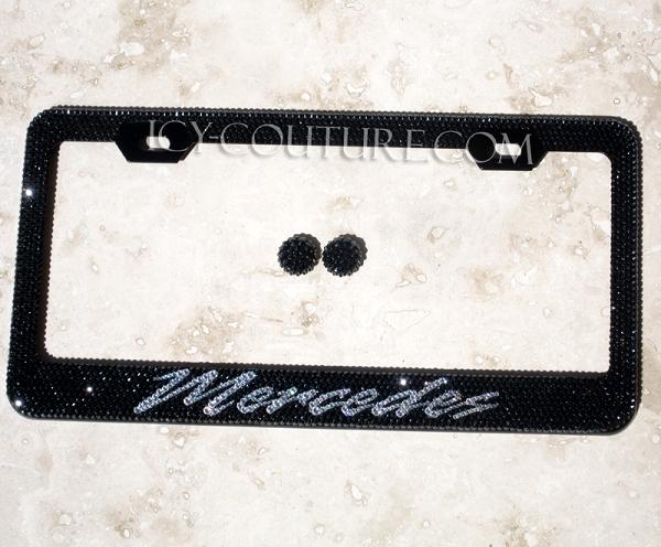 Mercedes license plate frame swarovski crystals whats for Mercedes benz license plate frame rhinestones