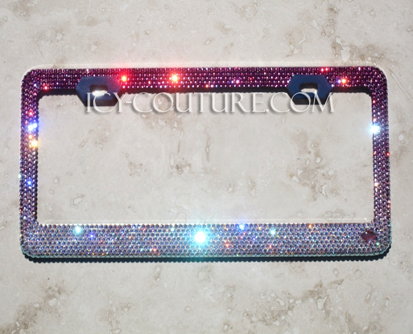 Reversed Pink Fade Icy Signature License Plate Frame With