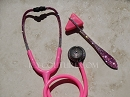 Pink Stethoscope with Swarovski Crystals - Pink Ombre