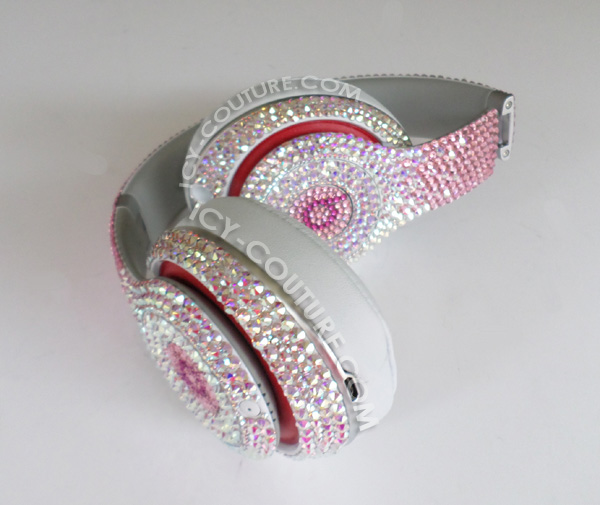 Reversed Pink Fading Bling Beats By Dre Bedazzled