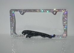 2-color 3D JAGUAR License Plate Frame with Swarovski Crystals