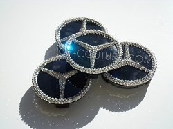 Crystal 3D Mercedes Center Wheel Rim Caps Swarovski Crystals