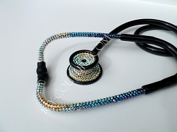 Black Stethoscope Iridescent Blue Ombre Swarovski Crystals. Select Your Brand.