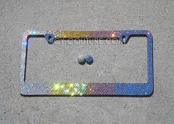 GOOD VIBES ONLY Horizontal Ombre - Swarovski Crystal License Plate Frame