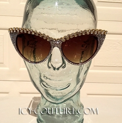 Double Chain Crystal Bling CAT-ICE Sunglasses Swarovski Elements