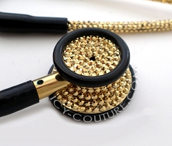 Black Tube Stethoscope 24K GOLD Swarovski Crystals. Select Your Brand.