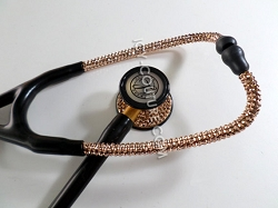 Black Stethoscope ROSE GOLD Swarovski Crystals. Select Your Brand.