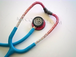 Blue Tube Stethoscope with PINK OMBRE Swarovski Crystals. Select Your Brand.