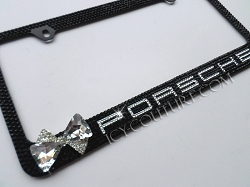 3d bow porsche or your car model license plate frame with swarovski crystals
