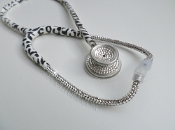 Limited Edition Snow Leopard Stethoscope Diamond Clear Swarovski Crystals
