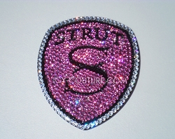 ICED Out STRUT Bling emblem with Swarovski Crystals. Whats Your Color?