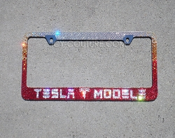 TESLA (your) MODEL Swarovski Crystal License Plate Frame. Whats Your Colors?