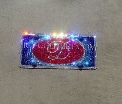 Custom Design Front Vanity License Plate, fully bedazzled with Swarovski crystals