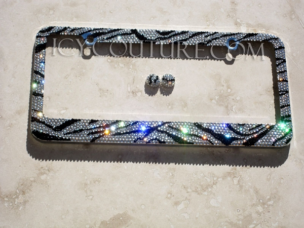 zebra icy couture crystal license plate frame