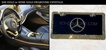 3D Mercedes License Plate & Frame - 24K GOLD or ROSE GOLD Swarovski Crystals.