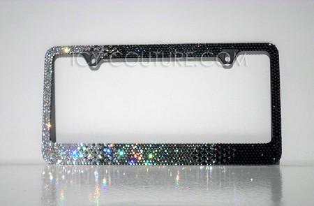 Black Diamond HORIZONTAL OMBRE - Swarovski Crystal License Plate Frame