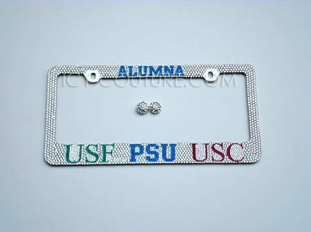Custom ALUMNI Swarovski Crystal License Plate Frame