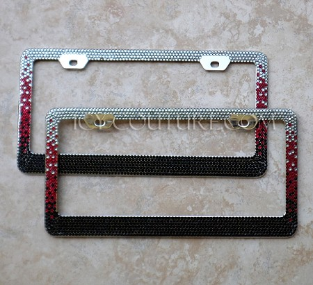 black red custom colors ombre swarovski crystals license plate frame