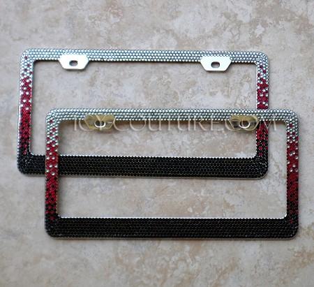 black red custom colors ombre swarovski crystals license plate frame