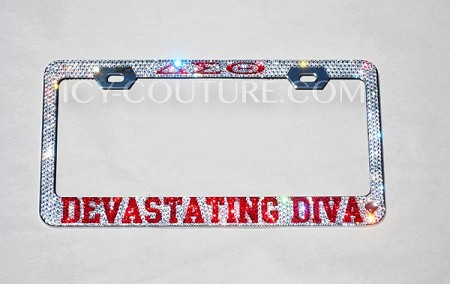 YOUR SORORITY custom bedazzled Crystal License Plate Frame