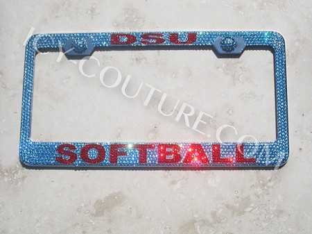 DSU SOFTBALL, ICY Couture Custom Crystal License Plate Frame