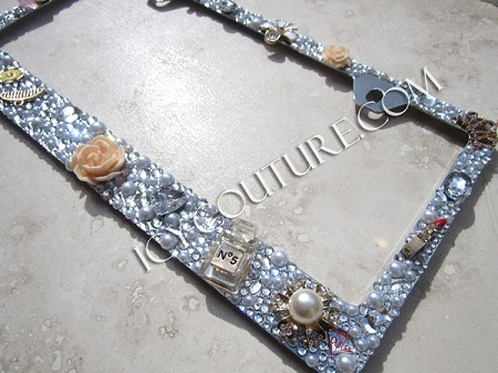 FASHIONISTA 3D Pearls & Rhinestone Bling License Plate Frame by ICY ...