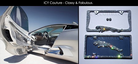 3D Crystal JAGUAR BLING License Plate Frame with Swarovski