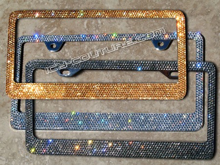 icy signature swarovski crystal license plate frame solid color of your choice