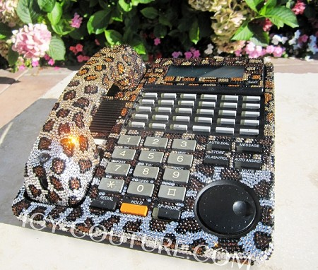 Leopard Print Icy Couture Bedazzled With Swarovski Crystal Bling Home Office Desk Phone