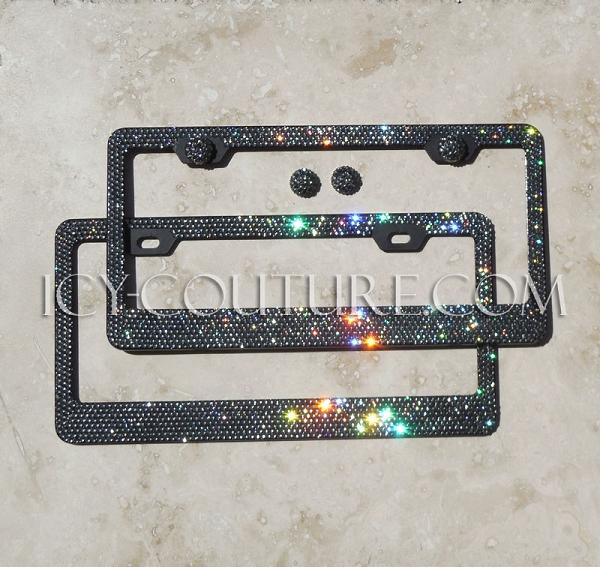 Black Diamond On Black License Plate Frame With Swarovski