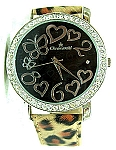 Swarovski Crystal Lady Watch - Hearts & butterflies - LEOPARD strap