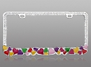 Hearts - Rhinestone License Plate Frame with Clear Crystals
