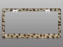 Classic Leopard print Rhinestone Bling on chrome license plate frame