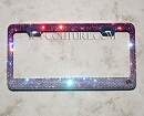 Reversed PINK Fade ICY Signature License Plate Frame with Swarovski Crystals