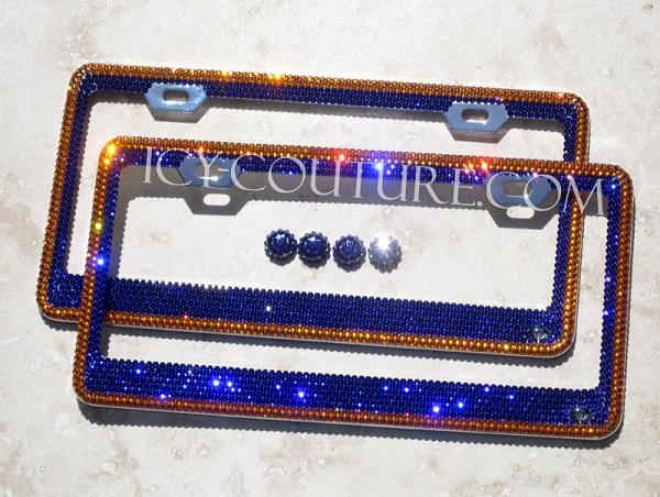 SET OF BLUE PLAIN SLIM Metal License Plate Frame 2 Tag Frames