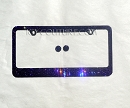 PURPLE on BLACK Swarovski Crystal License Plate Frame with ICY Screw Caps