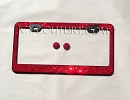 RED on BLACK Swarovski Crystal License Plate Frame
