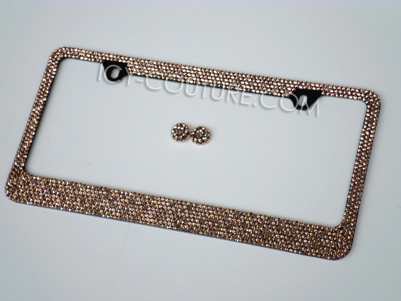 24K GOLD or ROSE GOLD License Plate Frame Swarovski Crystals